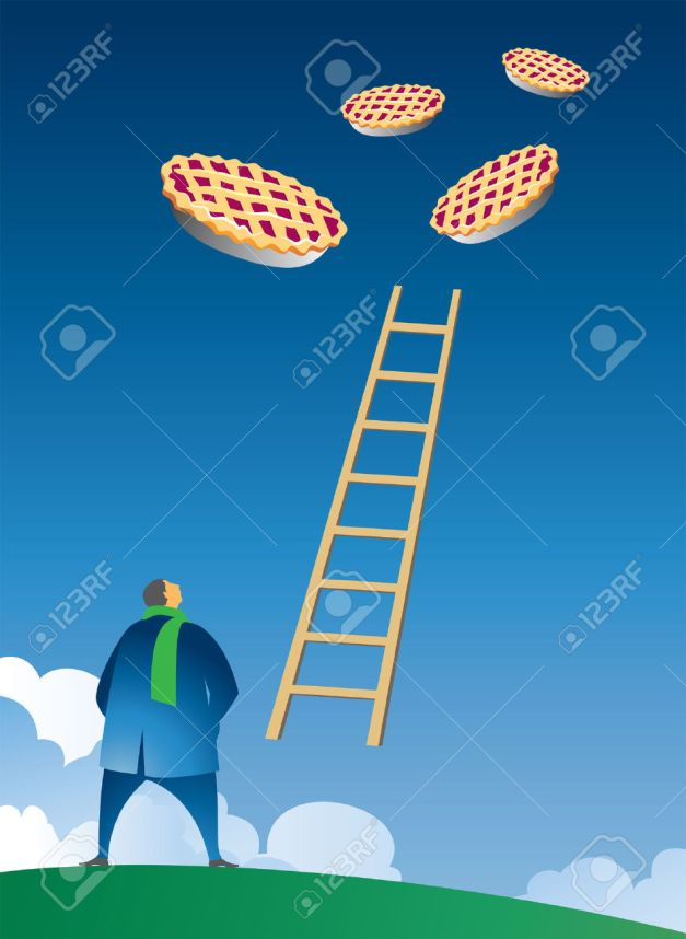 8388574-illustration-of-little-man-gazing-up-into-the-sky-at-floating-pies-and-a-ladder-connecting-earth-to-Stock-Vector