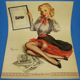 gil_elvgren_pinup_artist_waiting_for_you_1955_calendar_advertising_theme_poster_art_16x20
