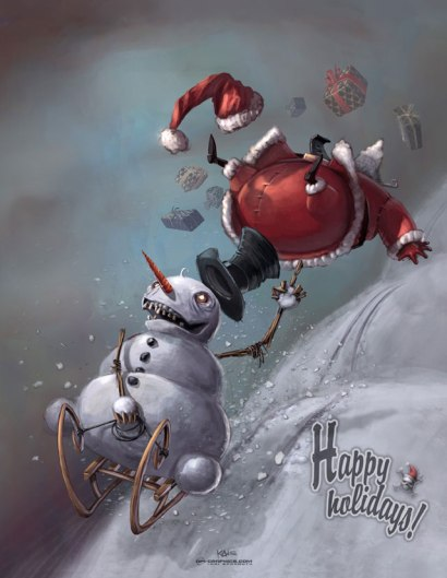 Snowman vs Santa by Kai Spannuth