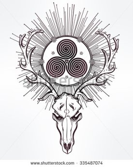 stock-vector-beautiful-scull-tattoo-art-vintage-deer-skull-pagan-style-antlers-with-celtic-triskel-sign-in-335487074
